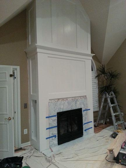 Fireplace trim painted and Drumm Design Remodel adding marble ...