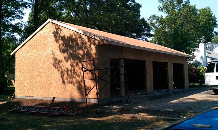 Roof Going Up On Garage And Roofing Plywood Ready For Tar Paper And Shingles