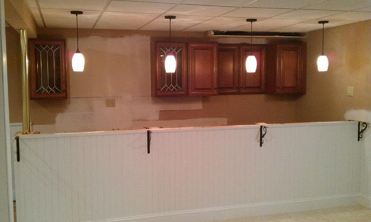Patched dry wall and new upper cabinets for Kitchen cabinets quakertown pa